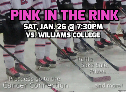 Event poster showing the legs, skates and sticks of a row of hockey players