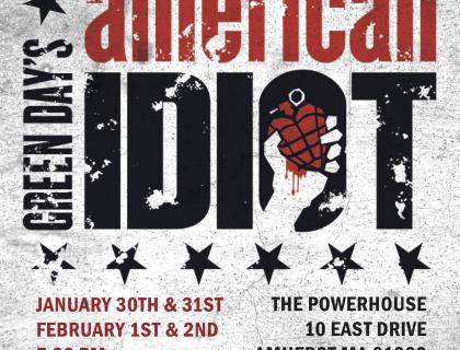 Event poster with black and red text on a blotchy gray background, featuring a hand holding a heart-shaped grenade