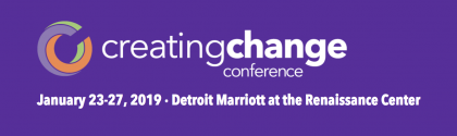 Creating Change Conference Logo, text in white, purple background.