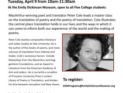 MacArthur-winning poet and translator Peter Cole leads a master class on the translation of poetry and the poetry of translation. Cole illustrates the central place translation holds in our lives and the ways in which it can come to inform both our experience of the world and the making of poems.
