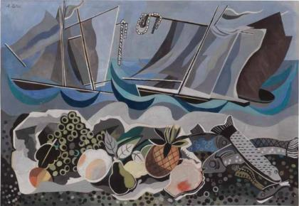 Abstract print depicting a still life of fruits in the foreground and a waterscape in the background.