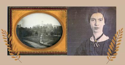 A framed 19th-century photo of the Amherst College campus sits beside a photo of Emily Dickinson, on a tan background, flanked by golden ferns