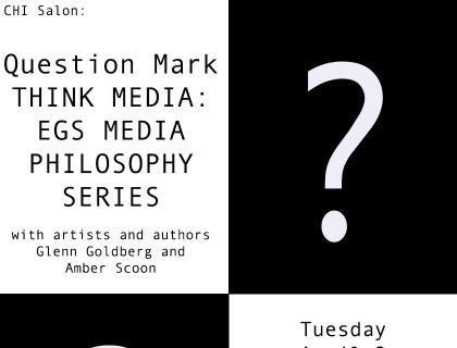 Black-and-white event flyer featuring large question marks