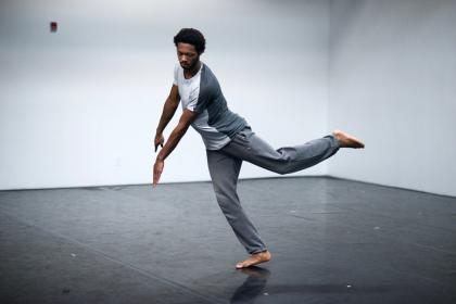 Kyle Marshall dancing in a studio