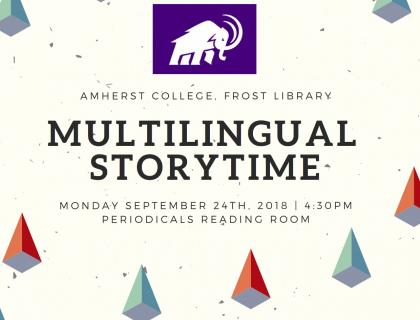 Multilingual Storytime Flyer Monday September 24th 4:30pm