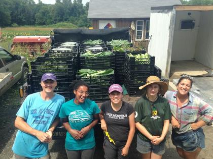 Five people standing in front of a truck bed full of vegetables.