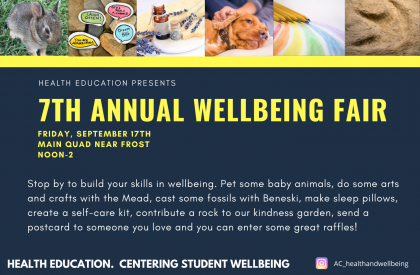 """Blue background with yellow letters announcing the """"7th Annual Wellbeing Fair"""" on the main quad near frost from noon to 2 p.m. Pictures of a baby bunny, dog, lavender, dinosaur footprint and colored pencils line the top of the poster."""