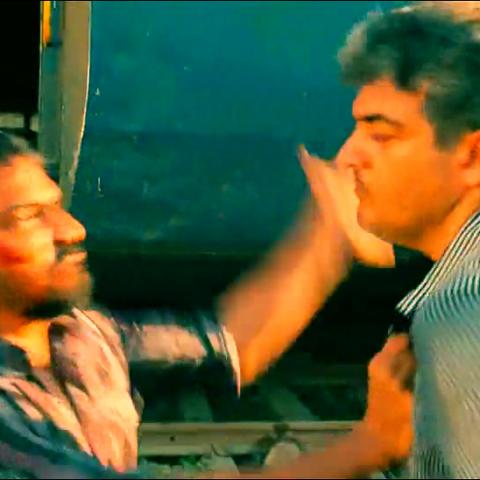 Mankatha film still of slap on the face