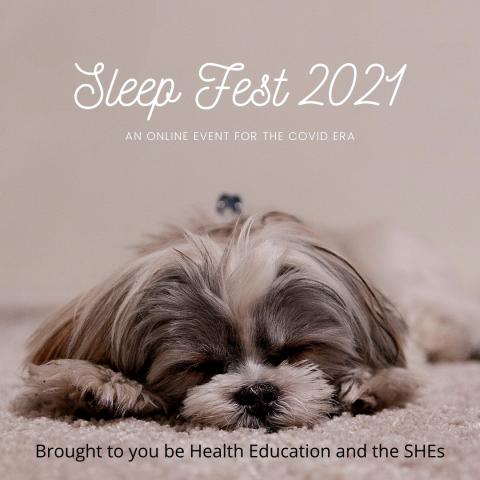 sleeping fluffy grey dog with the words sleep fest 2021 above it