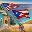 Image Description: picture of event flyer. At the center is an illustration of the ocean and beach with a row of colorful homes to the left, in the foreground is a brown hand holding the United States Flag and the Puerto Rican Flag blowing in the wind. illustration by Gel Jamlang