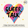 """Event poster featuring the words """"QUEER TALK"""" over a rainbow-striped heart"""