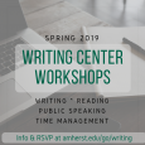 Writing center workshops Spring 2019