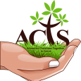 ACTS logo showing a hand holding grass that is growing ACTS