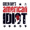 """Green Day's American Idiot"" logo in black and red on a white background, featuring a hand holding a heart-shaped grenade"