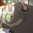 Image shows a mammoth inside a dorm room. The mammoth, wearing a pair of headphones, is working on voter registration paperwork and is in the middle of a video call with other mammoths. The dorm room is furnished with a shelf with books and binders, a succulent, a lamp and scissors. Johnson Chapel is outside the window in the background.