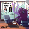 "Illustration of a purple cartoon Mammoth wearing headphones and working on a laptop while sitting in a lounge area. On a nearby window is an ""Amherst Tuning In"" poster with photos of Reena Esmail and Rebecca Howell."