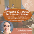 Poster with a photo of a previous Bi-Semester service and a headshot of the Rev. Catharine Cummings