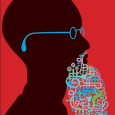Colorful illustration of a silhouette of a man in profile, with eyeglasses and a beard made of intertwined shapes of musical instruments