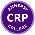 """Circle with the text """"Amherst College CRP"""" inside of it in purple and white"""
