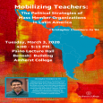 Event poster featuring a blue outline of Latin America on a red, orange and yellow background, as well as a small photo of Chambers-Ju