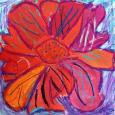 Brightly colored closeup drawing of a flower