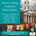 Photo of Johnson Chapel with T-shirt clothesline display in front of it. Teal boxes with white text of event details.