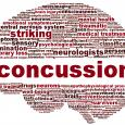 Word cloud showing words most often associated with concussions, including striking, examination, neurologists, and personality
