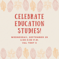 """""""Celebrate Education Studies!"""" poster with an illustrated border of autumn leaves"""
