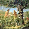 Depiction of Adam, Eve and Satan in the Garden of Eden, surrounded by plants and animals
