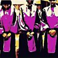 Pixelated image of three members of the Amherst College Gospel Choir in purple robes with their hands clasped in front of them