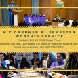 Event poster featuring photos of a preacher and gospel choir in Chapin Chapel and people serving themselves food at a buffet