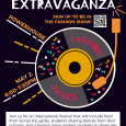 "A music disc with the words ""fashion"" and ""dance"" are shown under the title, ""International Extravaganza."" On the left of the disc are the location and times, ""Powerhouse"" and ""May 2, 6-7:30PM."""