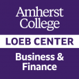 "Square ""Amherst College Loeb Center Business & Finance"" logo in purple and white"