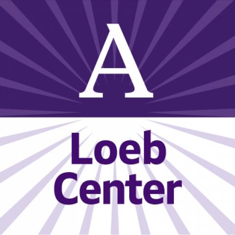 Purple-and-white Loeb Center logo