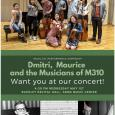 Event poster with a color photo of Schneider's students posing onstage with their instruments, and black-and-white photos of two composers