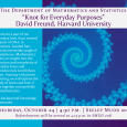 Event poster showing a spiral pattern of various shades of blue