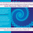 Event poster showing a spiral design in various shades of blue