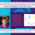 Event flyer including a headshot of James M. Murphy and a graph on which the data points look like a smiley face