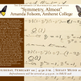 Event flyer featuring handwritten mathematical notes and illustrations of butterflies