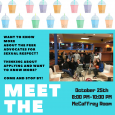 Picture of Students in bowling alley. Students are holding bowling balls.  Poster background is turquoise and the information for the event is listed on the poster