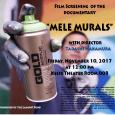 Colorful event poster showing a man holding a can of gold spray paint in his paint-covered hand