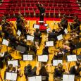 Overhead shot of orchestra rehearsal in Buckley Recital Hall