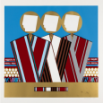 Colorful stylized image representing three human figures wearing robes