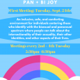 Pan and Bi Joy every other Tuesday. Second meeting on October 8th