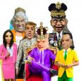 Peer Gynt trolls: colorful, cartoonish figures with the heads of a pig, Richard Nixon, Donald Trump and others