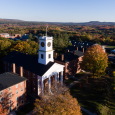 Aerial view of Johnson Chapel and the surrounding Amherst College campus