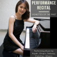 Event poster showing Liu wearing a black dress, seated at a piano