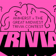AMHERST X THE GREAT MIDWEST TRIVIA CONTEST, brain amidst question marks logo