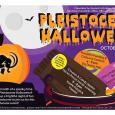 "Cover photo description: ""Pleistocene Halloween"" in orange print at the top. The background of the photo is a purple night sky with a full moon and flying bat. A pumpkin in the bottom lef corner has the mammoth logo carved into it. There is a bucket of candy in the bottom right corner with the schedule of events written on the pieces of candy."
