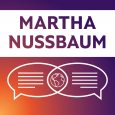 Purple, orange and white image showing the name MARTHA NUSSBAUM above dialogue bubbles and a globe